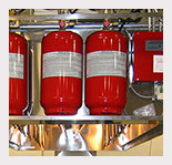 rack of fire extinguishers